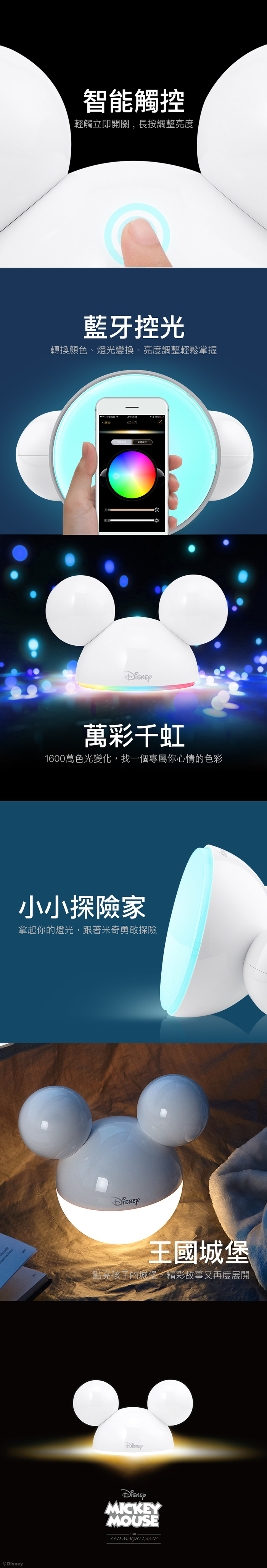 InfoThink|米奇可變色藍牙APP情境燈(90周年限量剔透白)
