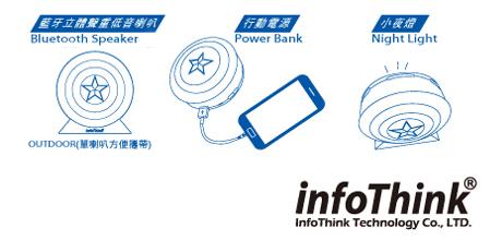 InfoThink|美國隊長盾牌藍牙喇叭X行動電源7800mAh (2in1)