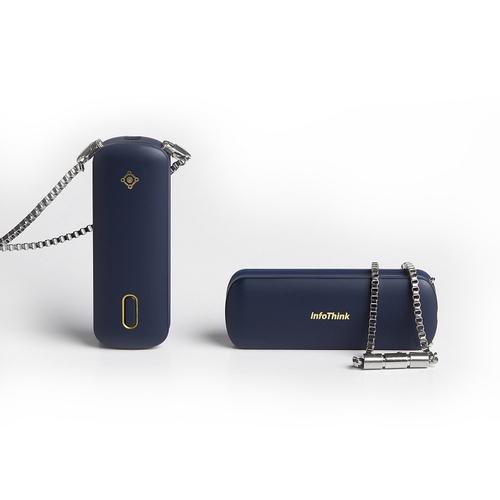 InfoThink|隨身項鍊負離子空氣清淨機-石墨藍