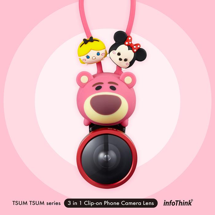 InfoThink TSUM TSUM 超廣角/魚眼/微距三合一手機鏡頭組-熊抱