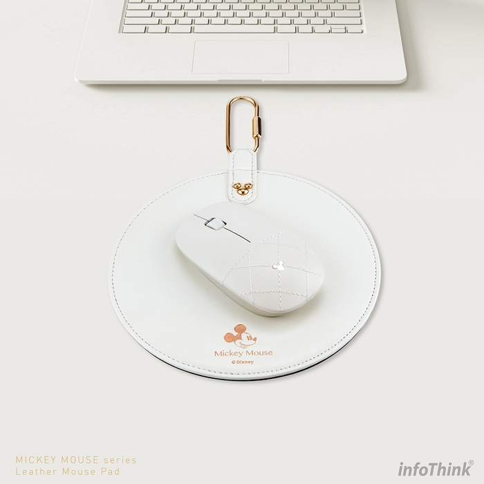 InfoThink|迪士尼米奇系列皮革無線光學靜音滑鼠(朱白)