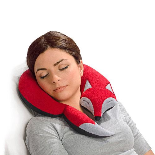 德國萊思綺Leschi 旅行枕頭/辦公室,教室午休枕頭(狐狸造型-咖啡色)