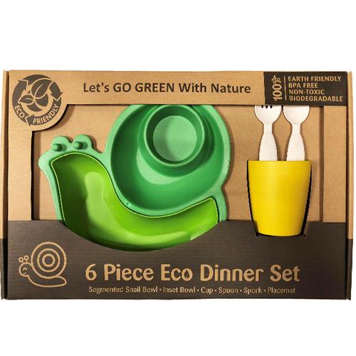 Let's Go Eco 蝸牛造型兒童餐具組-綠色