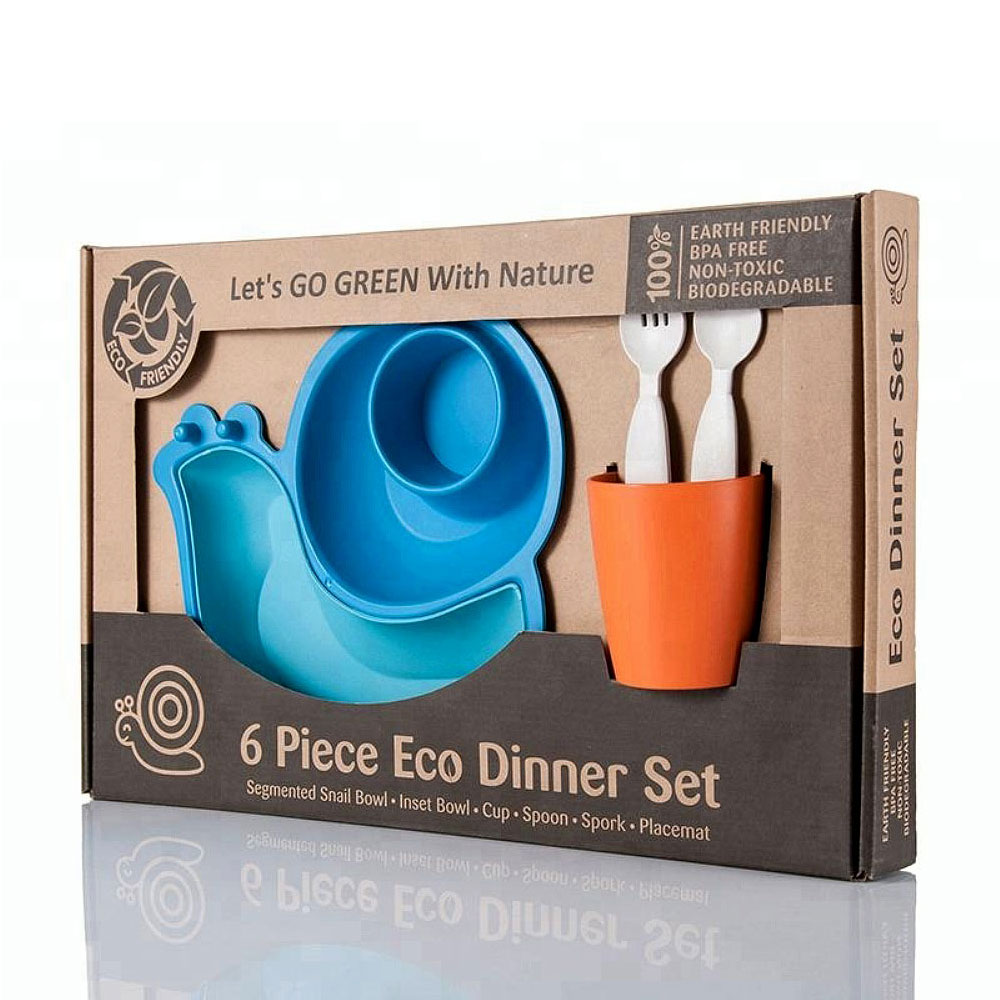 Lets' Go Eco|蝸牛造型兒童餐具組-藍色