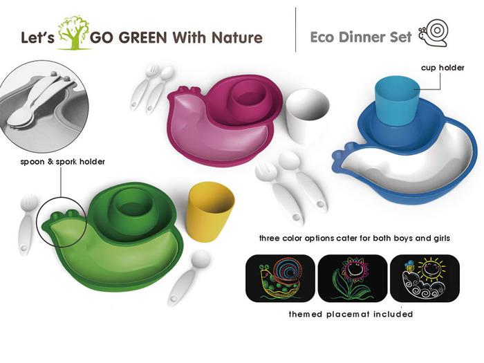 Lets' Go Eco|蝸牛造型兒童餐具組-桃紅色