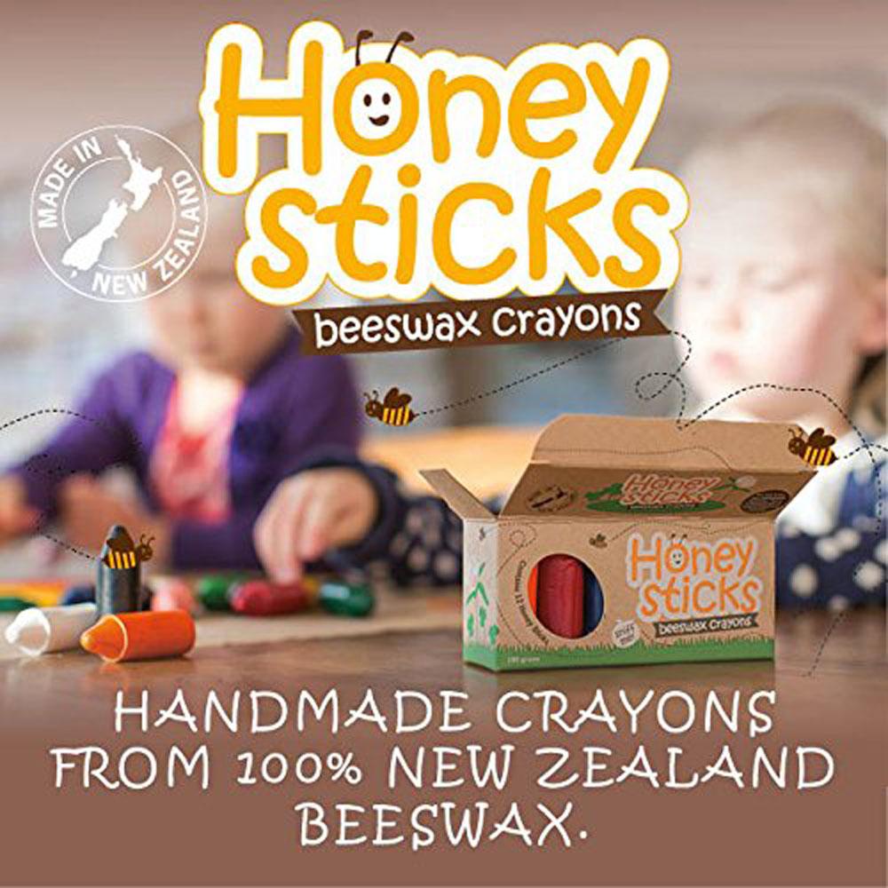 紐西蘭Honey Sticks Crayons│純天然蜂蠟無毒蠟筆 (胖長款)