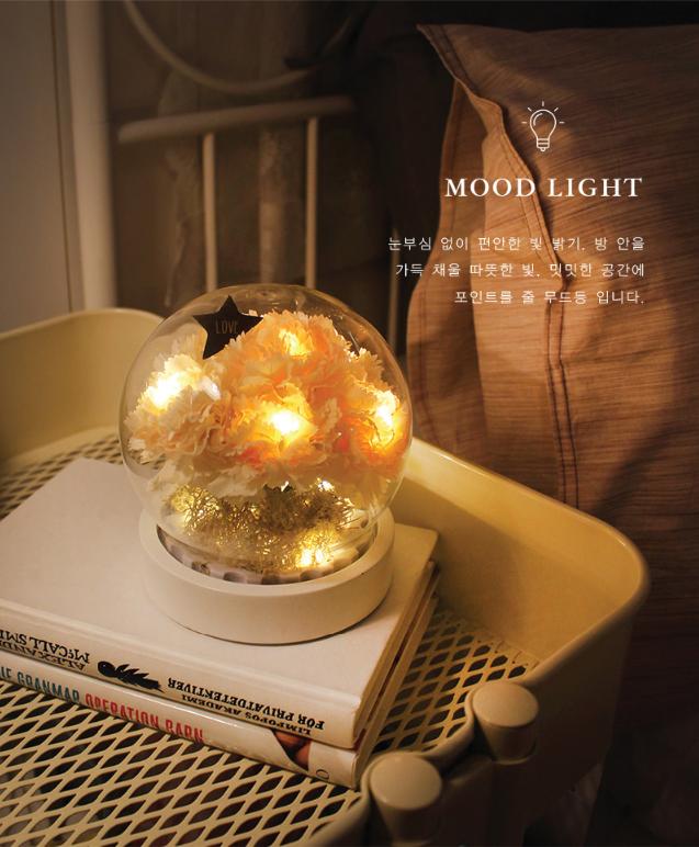 韓國 Via K Studio | LED仿真花夜燈-康乃馨玻璃圓罐