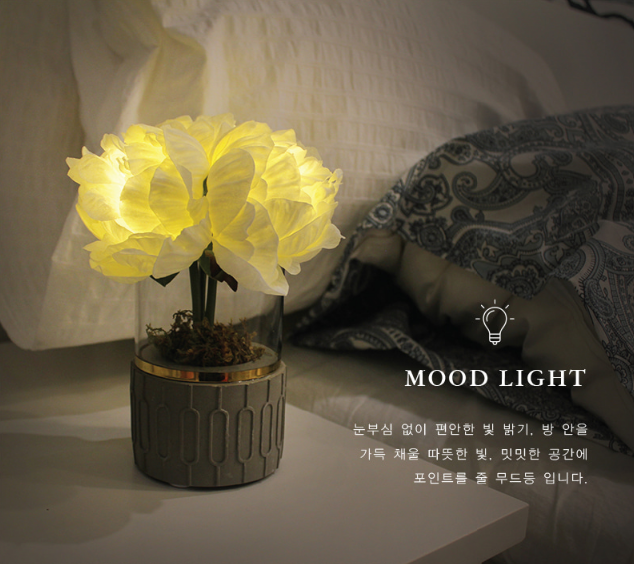 韓國 Via K Studio   LED仿真花夜燈-牡丹盆栽