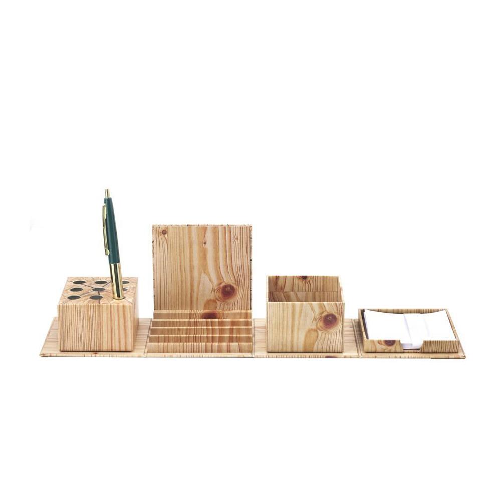 Kikkerland | 折疊仿木盒文具收納