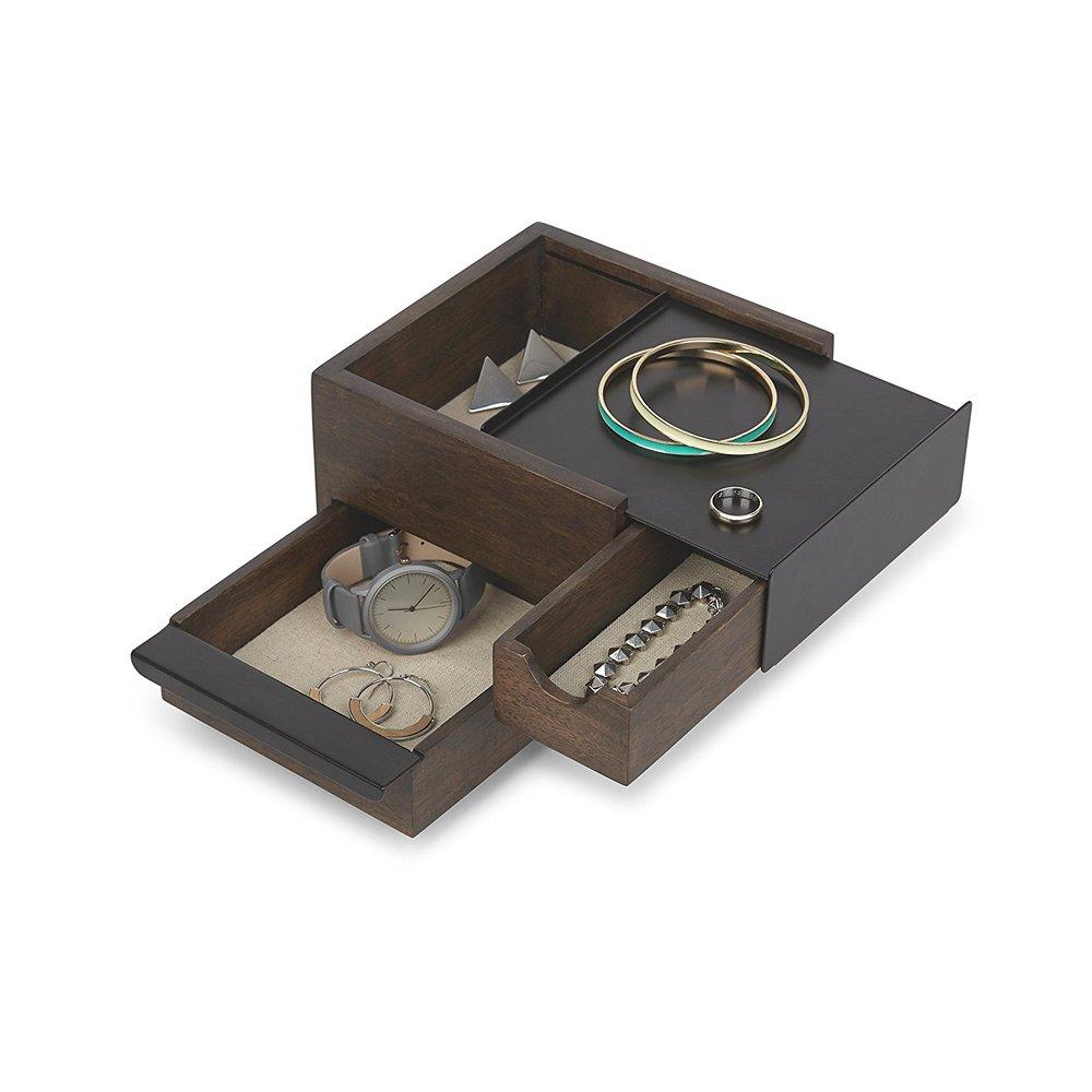 Umbra | MINI STOWIT 木質飾品收納盒-胡桃木色-小