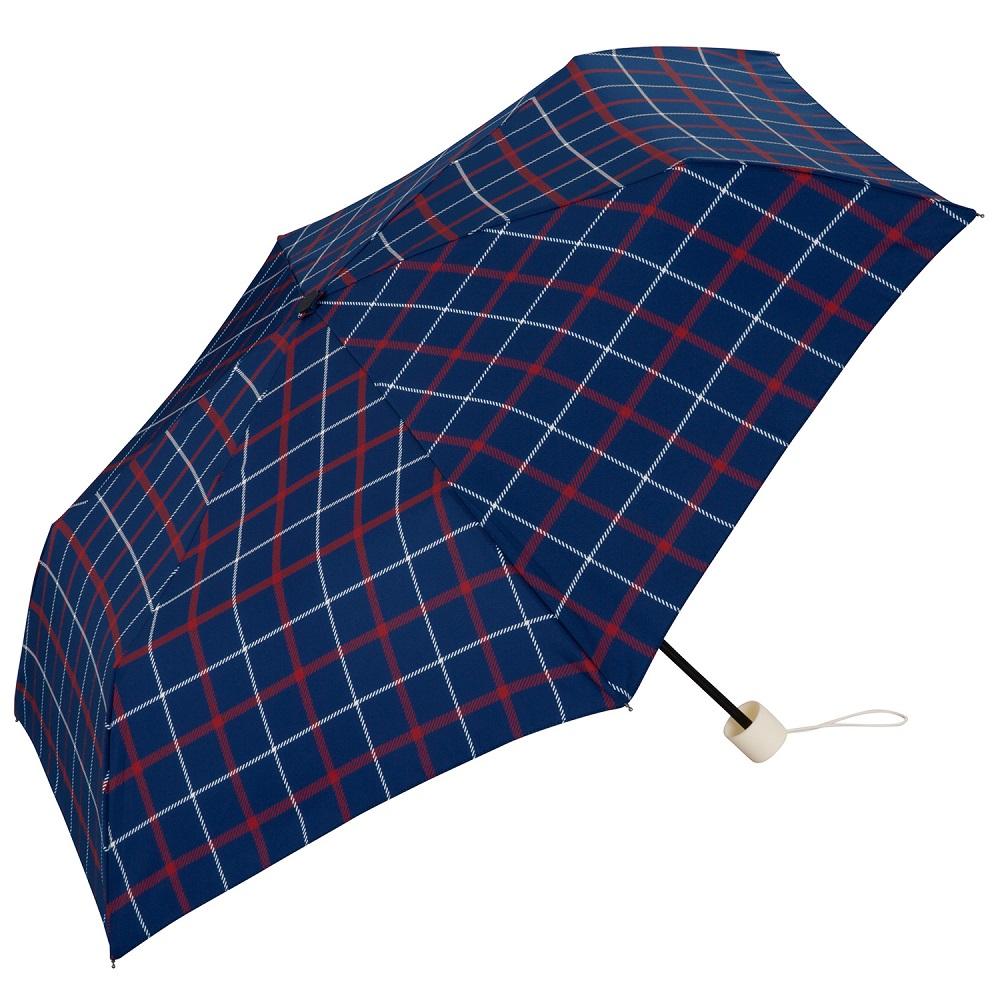 日本Unnurella   不濕抗UV 晴雨摺疊傘-英倫藍格