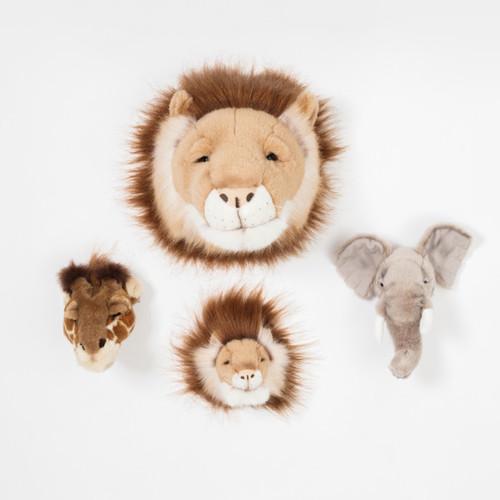 Wild & Soft | 動物頭部造型玩偶-三入組【大象、獅子、長頸鹿】