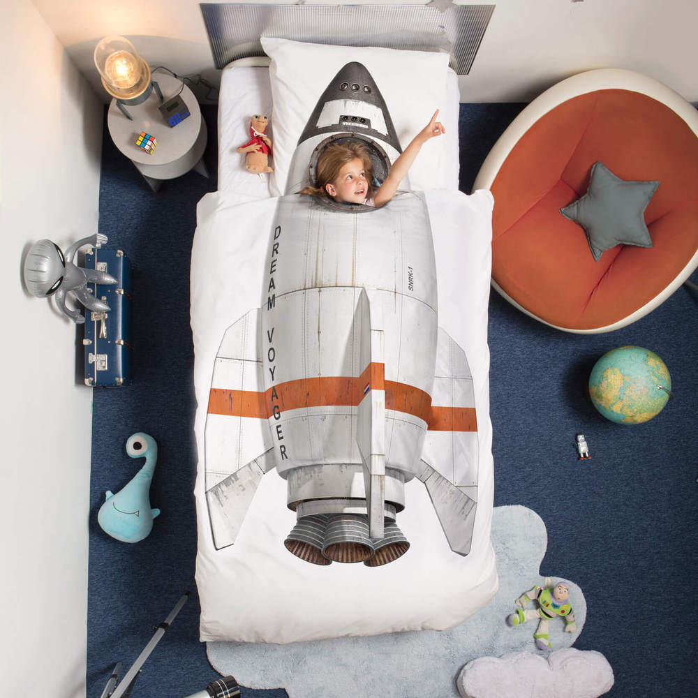 SNURK   漫遊太空系列- 火箭  枕套+被套組