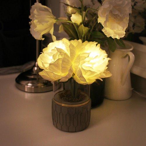 韓國 Via K Studio | LED仿真花夜燈-牡丹盆栽