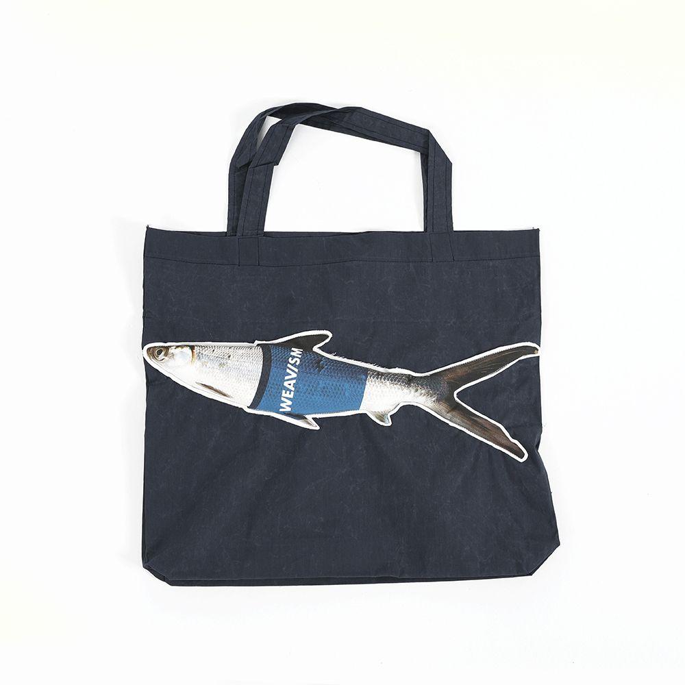WEAVISM織本主義|WHAT FISH 上蠟防潑水魚寶寶 環保手提袋 (深藍)