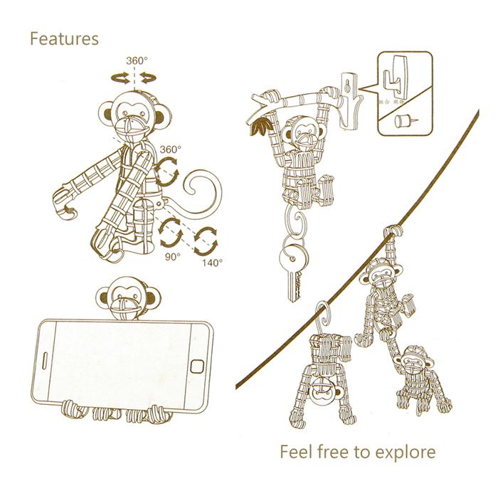 Team Green|3D木拼圖 猴子手機架