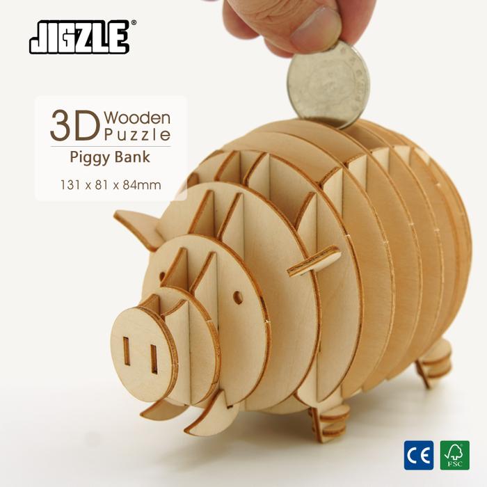 Team Green|3D木拼圖 小豬存錢筒