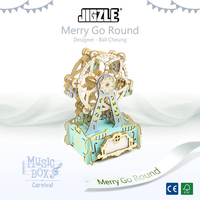 Team Green|3D木拼圖 彩色音樂盒-摩天輪