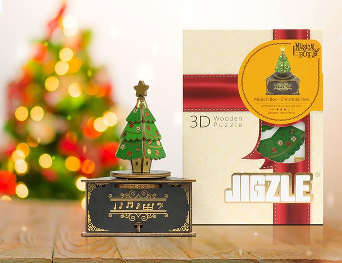(複製)JIGZLE|3D木拼圖 彩色聖誕節音樂盒-聖誕老公公