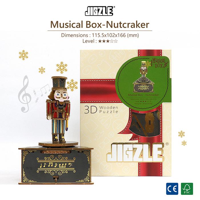(複製)JIGZLE|3D木拼圖 彩色聖誕節音樂盒-泰迪熊