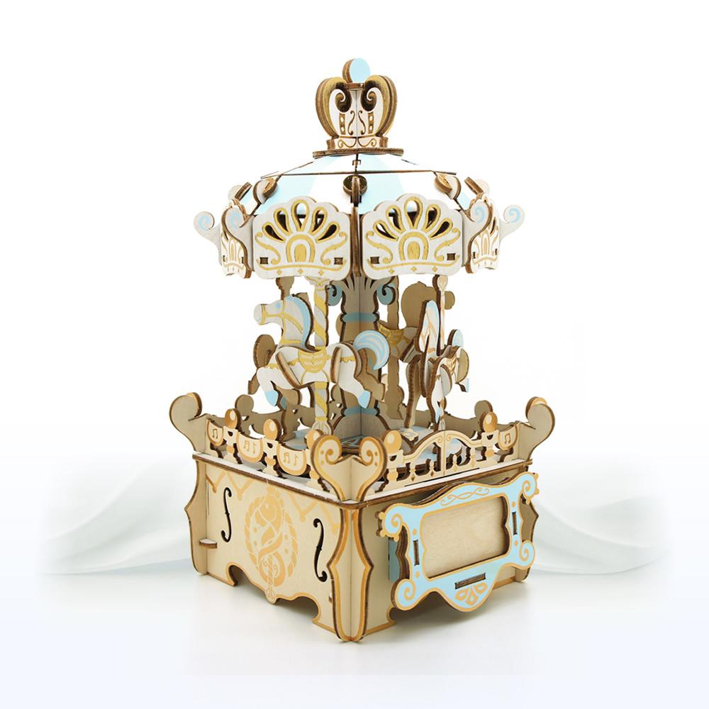 JIGZLE|3D木拼圖 彩色音樂盒-旋轉木馬