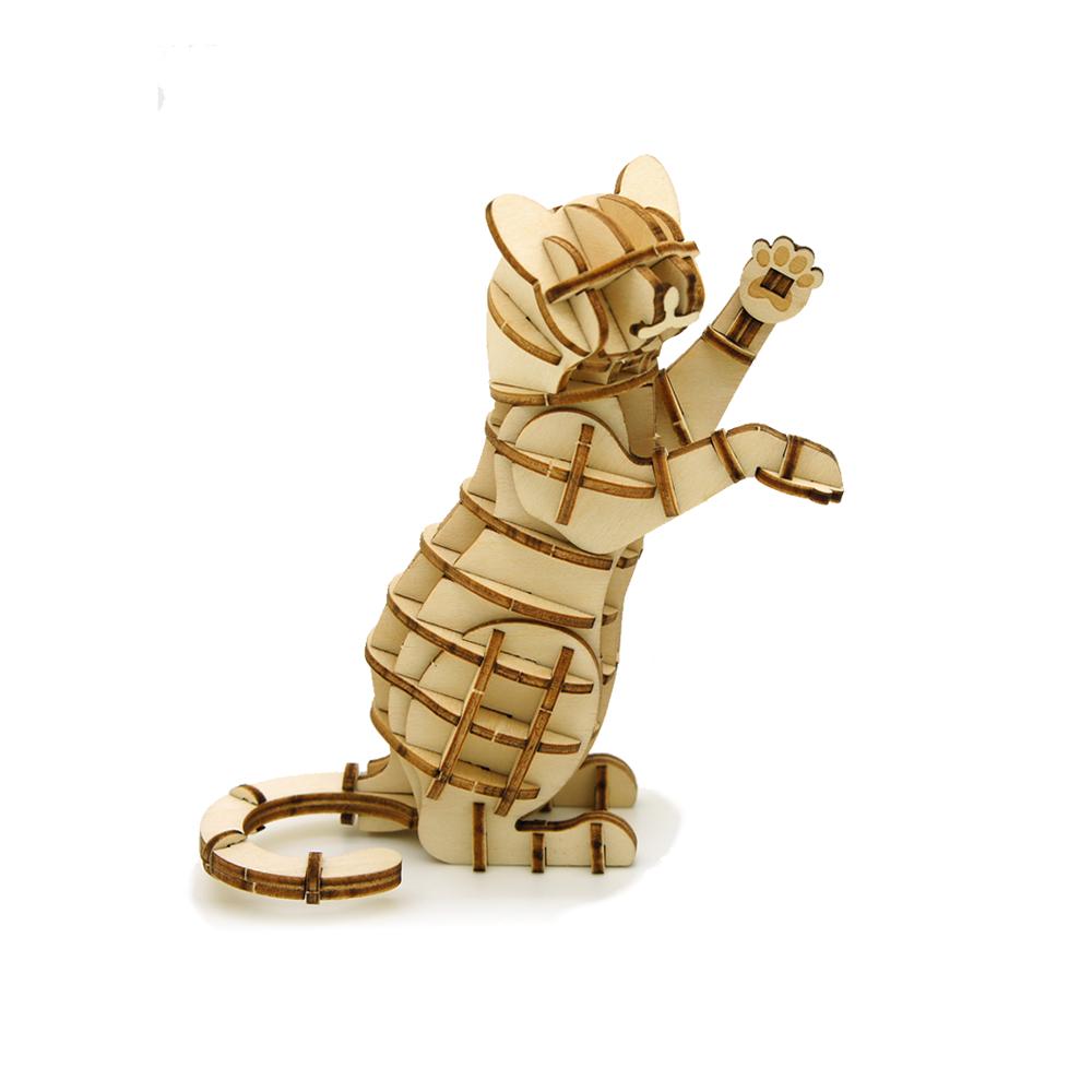 JIGZLE|3D木拼圖 站立的貓