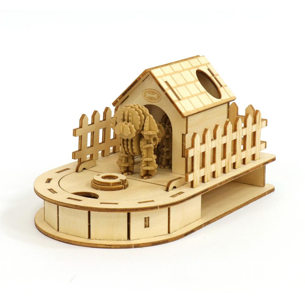JIGZLE|3D木拼圖 迷你收納狗屋 + 紙貴賓犬