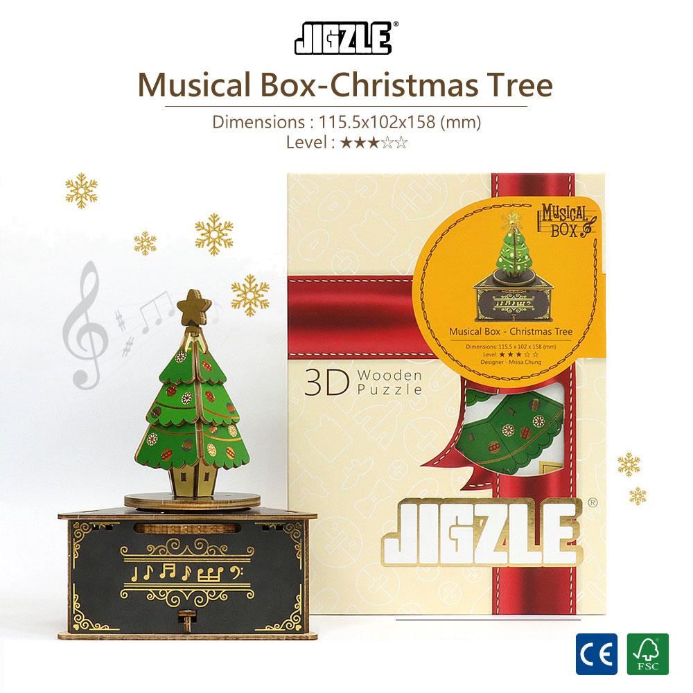 JIGZLE|3D木拼圖 彩色聖誕節音樂盒-聖誕樹