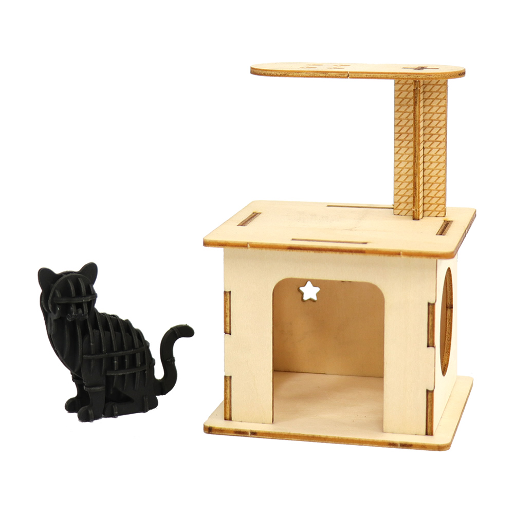 JIGZLE|3D木拼圖 貓咪樂園+紙靜態貓