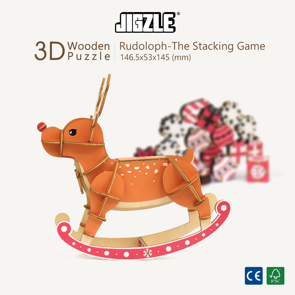 JIGZLE|3D木拼圖 彩色魯道夫-層層疊