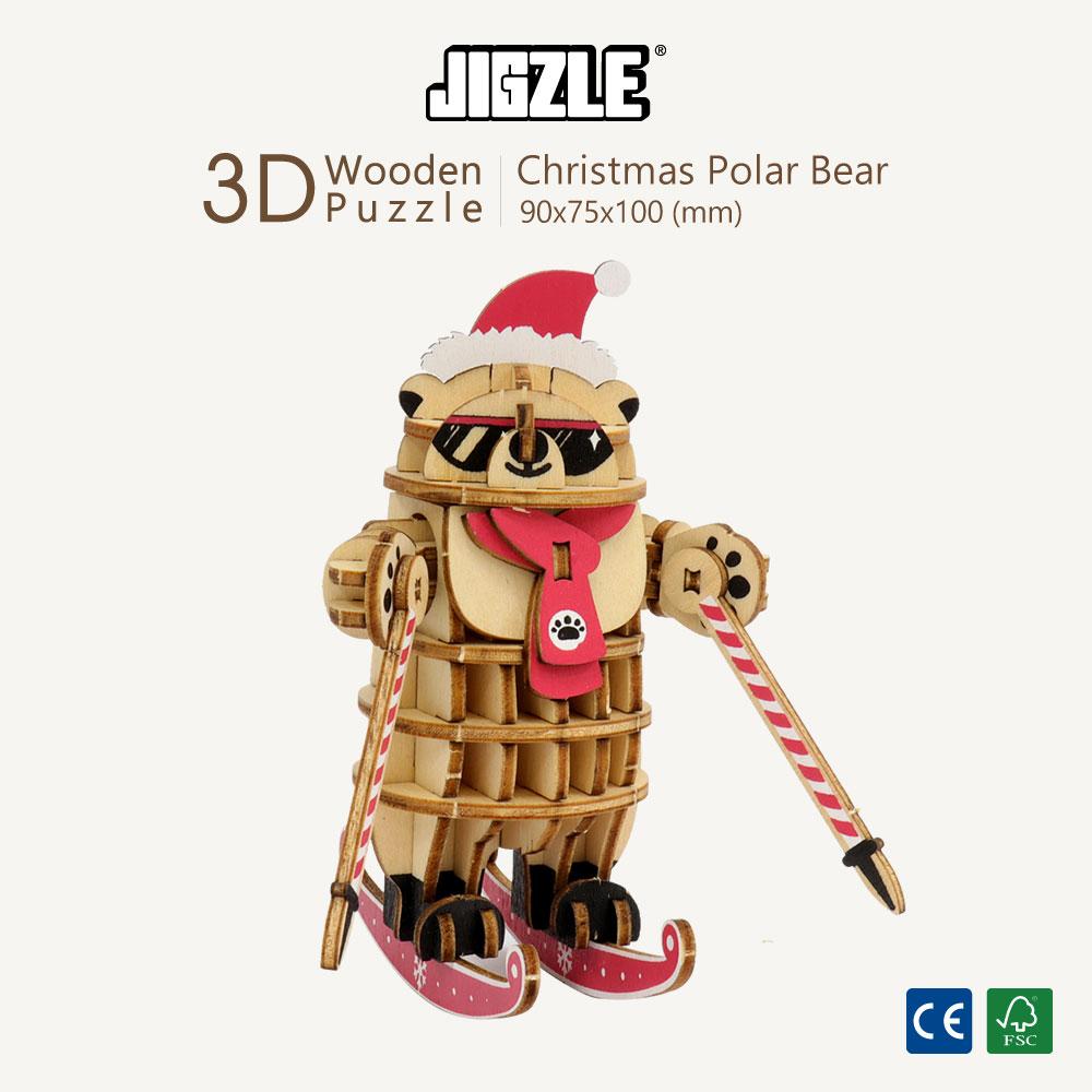 JIGZLE|3D木拼圖 彩色聖誕北極熊