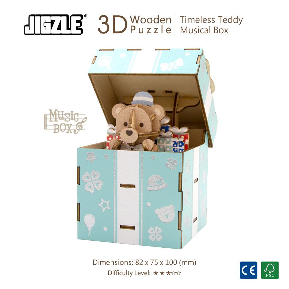 JIGZLE|3D木拼圖 彩色音樂盒-永恆泰迪