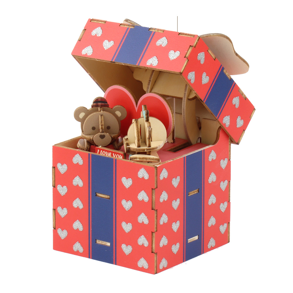 JIGZLE|3D木拼圖 彩色音樂盒-愛你的泰迪