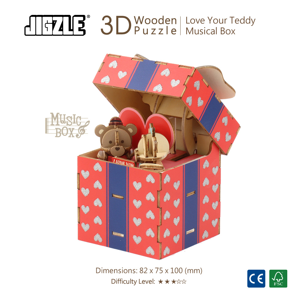 JIGZLE 3D木拼圖 彩色音樂盒-愛你的泰迪
