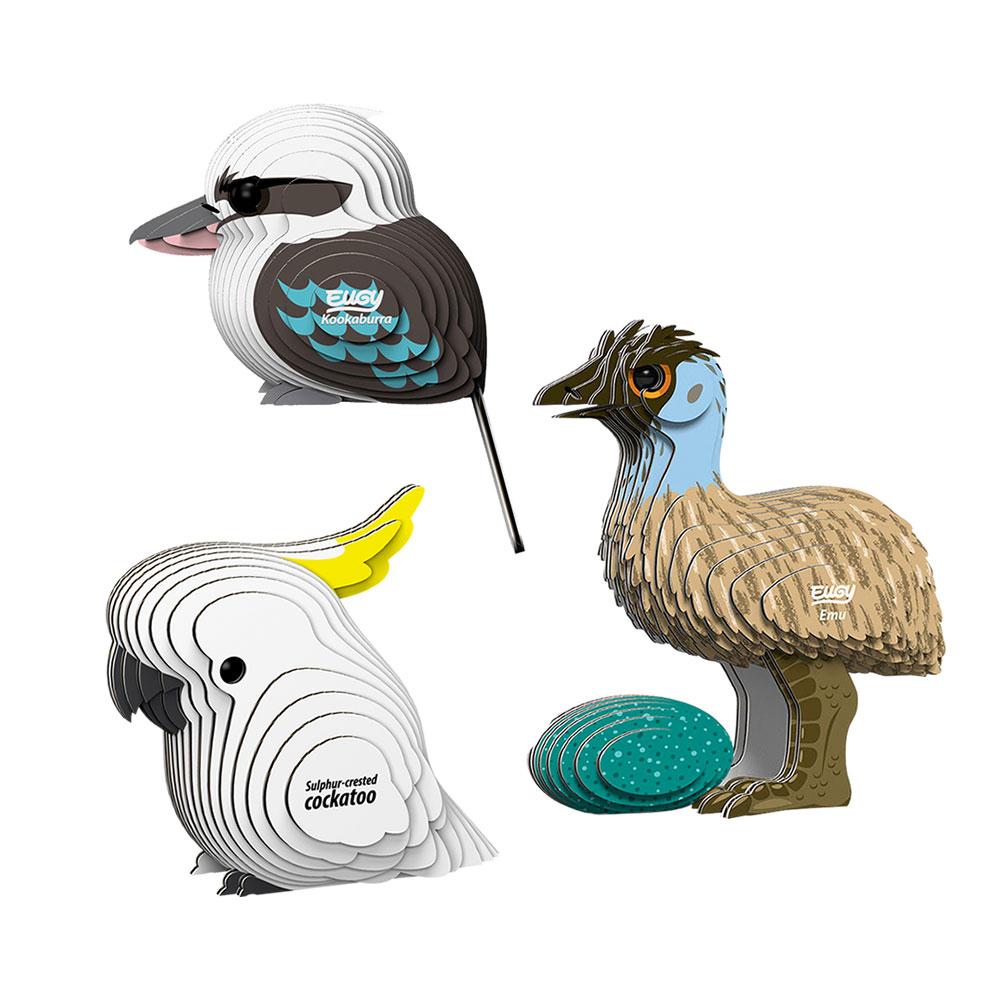 EUGY|3D紙板拼圖-三入組-鴯鶓、鳳頭鸚鵡、翠鳥