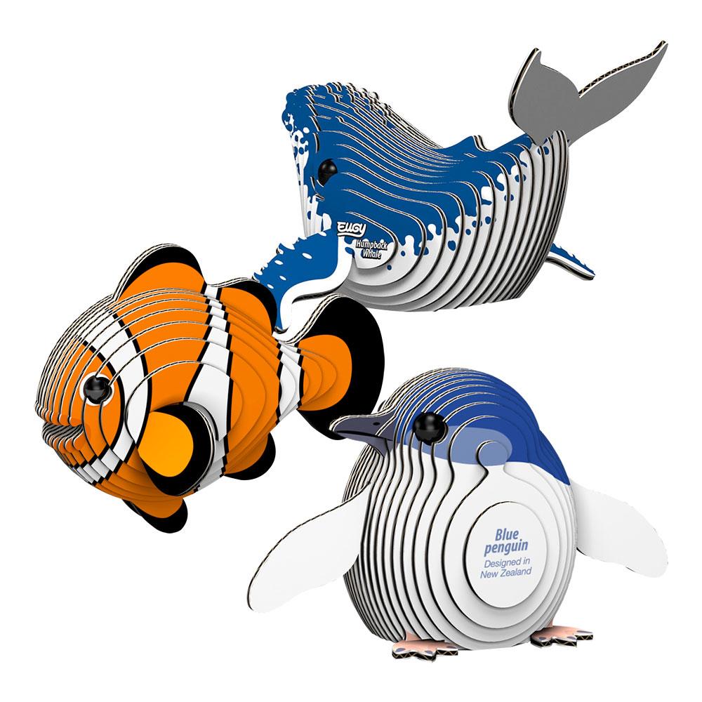 EUGY|3D紙板拼圖-三入組- 座頭鯨、企鵝、小丑魚