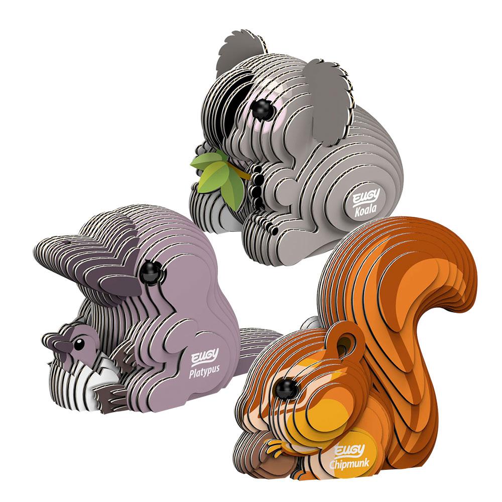 EUGY|3D紙板拼圖-三入組-松鼠、無尾熊、鴨嘴獸