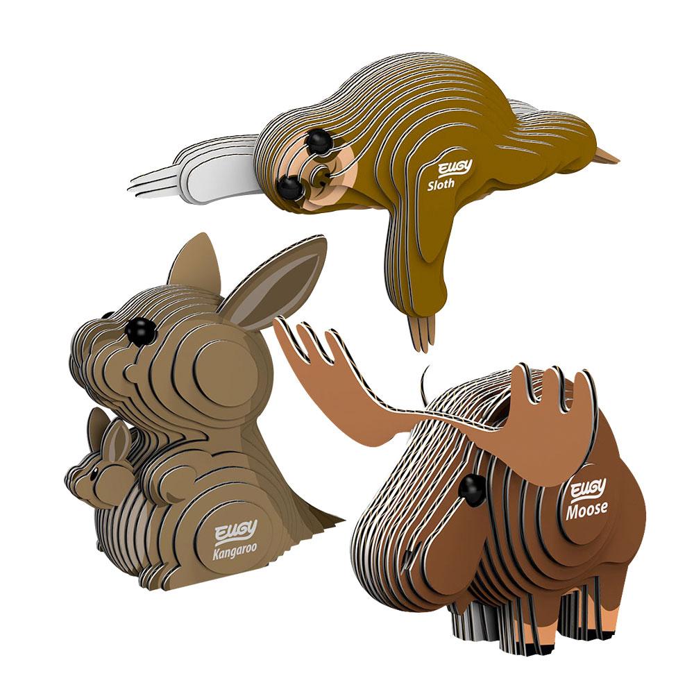 EUGY|3D紙板拼圖-三入組- 樹懶、大角麋鹿、袋鼠