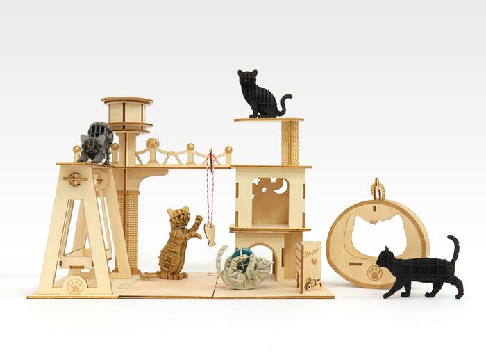 (複製)JIGZLE 3D木拼圖 貓咪樂園+紙靜態貓