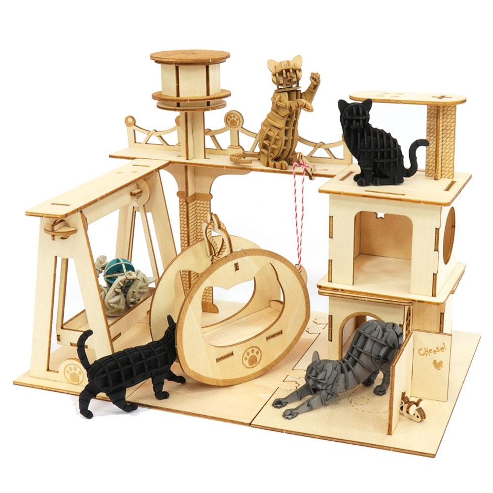 JIGZLE 3D木拼圖 貓咪樂園五件組