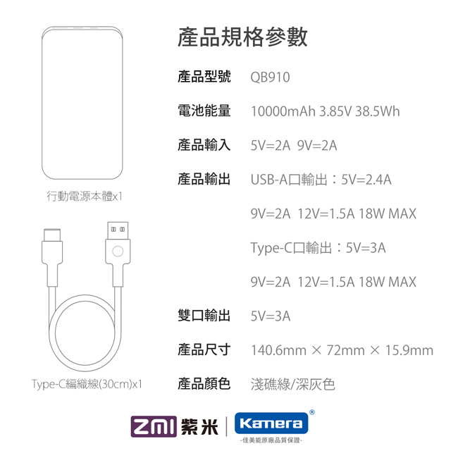 (複製)ZMI 紫米|QB910 10000mAh雙向快速充電行動電源-深灰