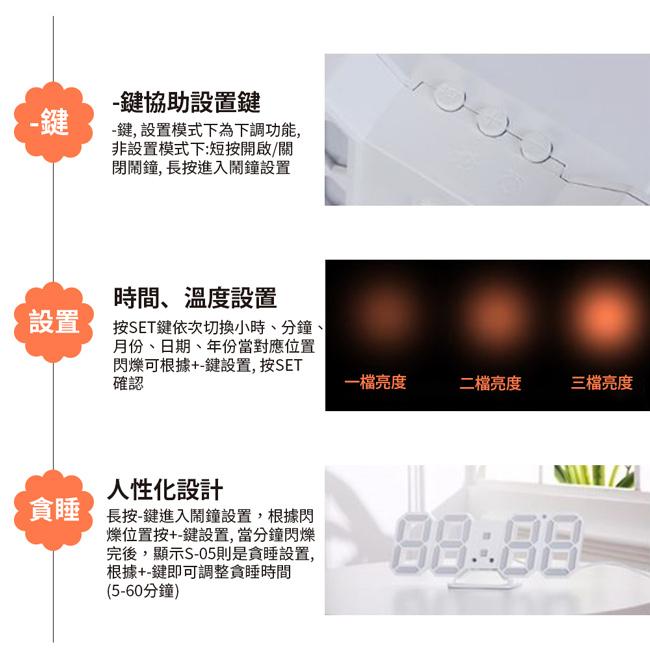 Kamera KA-9160 時尚LED立體電子鐘-白框白光