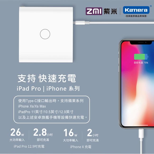 ZMI紫米|HA832 65W QC PD三孔快速充電器套裝 (含Type-C線) 黑色