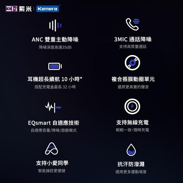 ZMI紫米|PurPods Pro TW-100 真無線降噪耳機-石墨灰+USB充電器+耳機套(隨機)