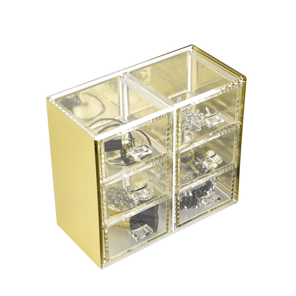 目喜生活 | 金色可堆疊桌上型收納6格抽屜