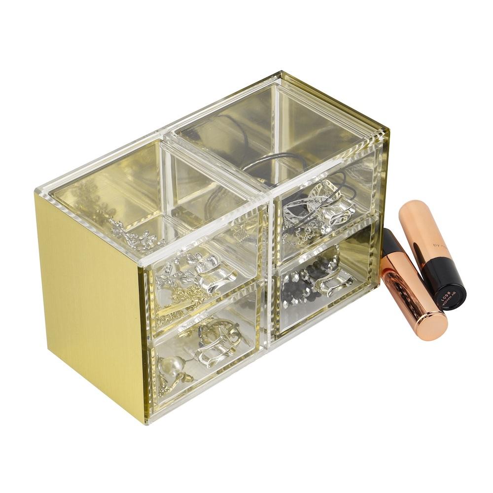 目喜生活   金色可堆疊桌上型收納4格抽屜