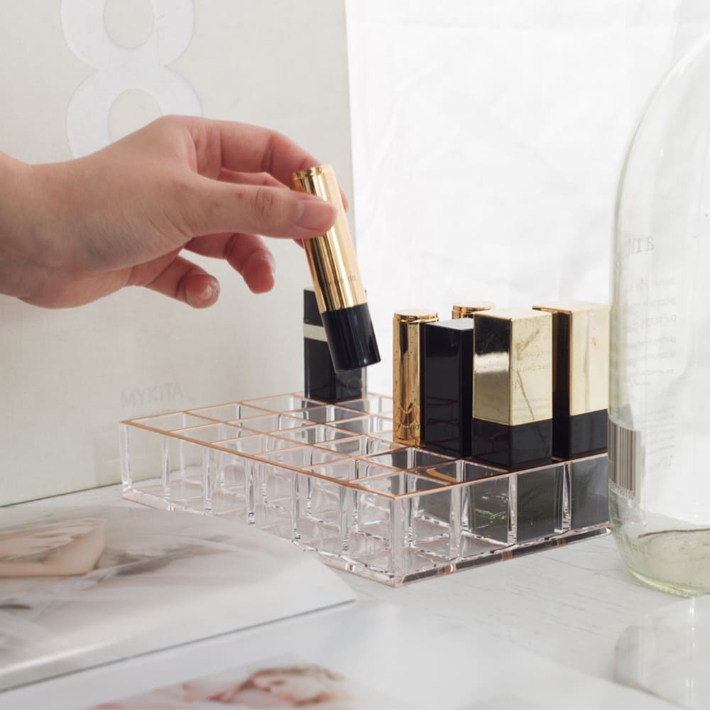 目喜生活 | 玫瑰金壓克力口紅收納架(24格) 護唇膏小香試用瓶收納盒