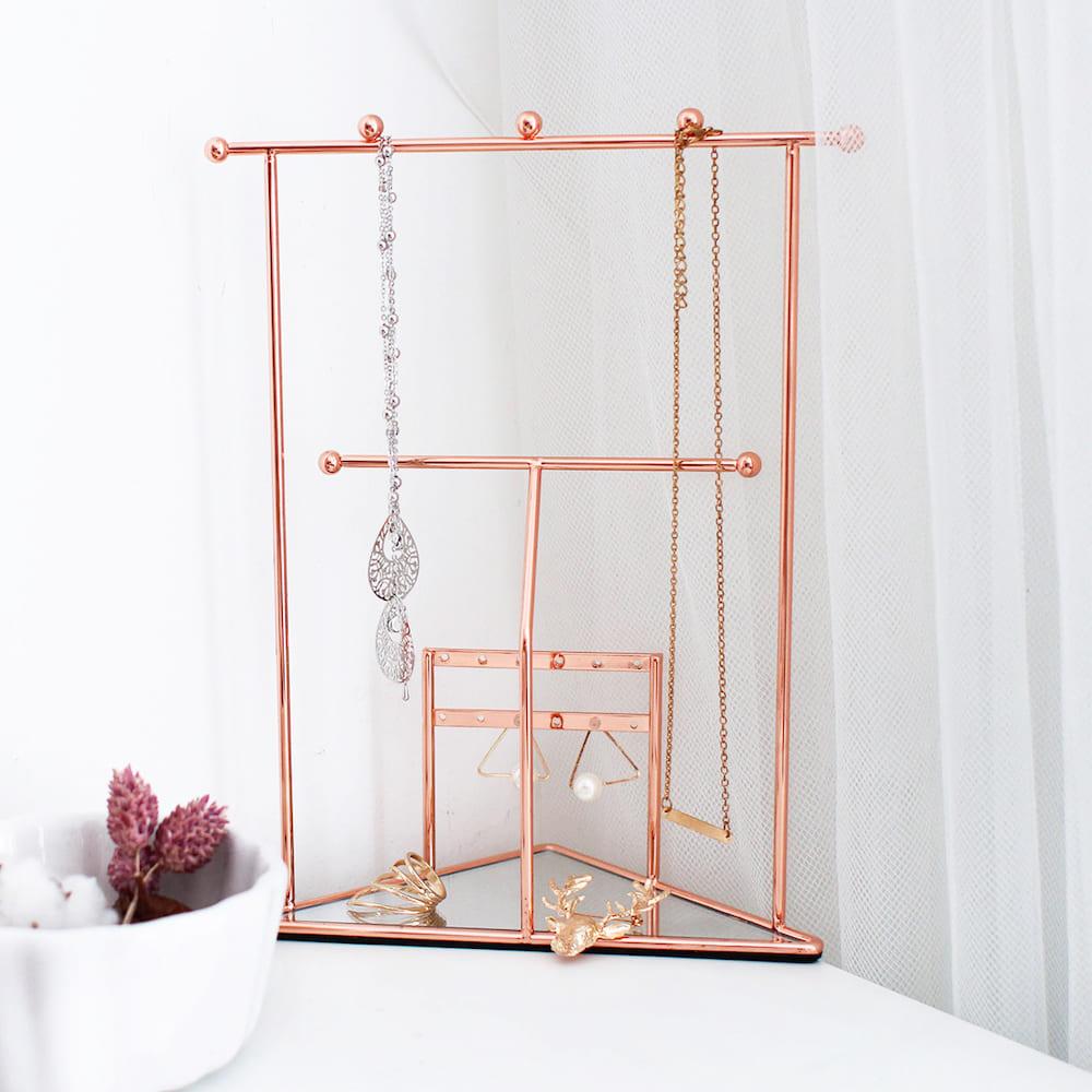 目喜生活|精緻交換新居禮物 玫瑰金三角鏡面項鍊鑰匙飾品掛架