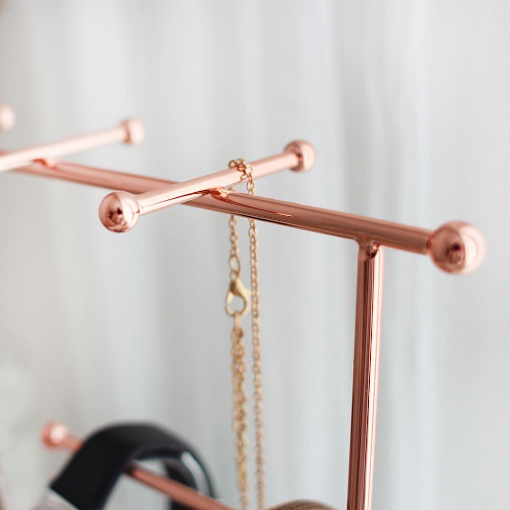 目喜生活|玫瑰金六角鏡面飾品項鍊掛架 鏡面款