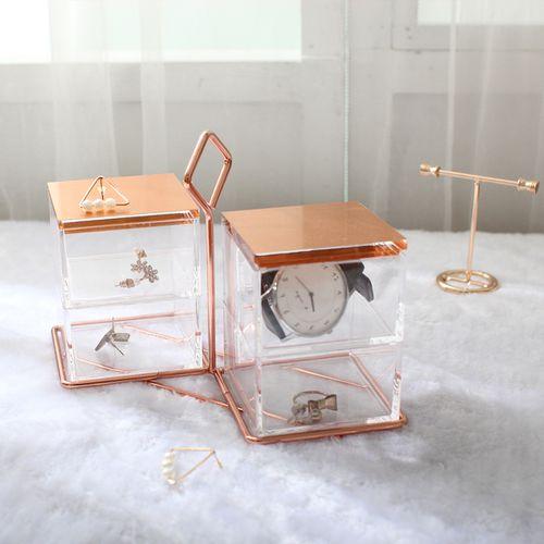 目喜生活 | 四格天秤玫瑰金飾品收納盒